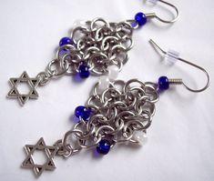 Star of David Earrings Charm Earrings  Diamond Shaped Earrings #handmade #jewelry #earrings #star #Israel #blue #white #starofDavid #Jewish