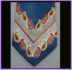 Mens Vintage Wide Necktie 1940s - 1950s Silky Blue Rayon Mid Century Mens Fashion Neck tie.
