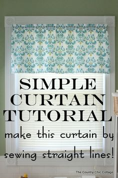 How to Make Curtains: Try this super simple sewing technique. Make an entire curtain with only sewing straight lines. Great tutorial with a video at The Country Chic Cottage Easy Sewing Projects, Sewing Projects For Beginners, Sewing Hacks, Sewing Tutorials, Sewing Crafts, Sewing Patterns, Sewing Tips, Easy Patterns, Valance Patterns