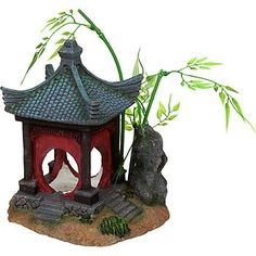 This Asian-inspired gazebo is an aquarium decoration from Petco. Perfect for a Zen-like miniature garden. Place in combed sand, with a few rocks and bamboo. Aquarium Stand, Aquarium Fish, Aquascaping, Cool Fish Tank Decorations, Betta Fish Tank, Beta Fish, Cool Fish Tanks, Doll House Crafts, Asian Decor