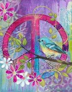Bohemian Chic Teen Wall Decor Peace Bird by WallFlowerArtShop Peace Sign Wall Art, Peace Bird, Hippie Art, Mandala, Painting, Bird Wall Art, Art, Peace Sign Art, Peace Art