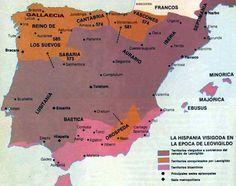 Mapa de la Pen. Ibérica antes y después de las conquistas de Leovigildo. Fuente.