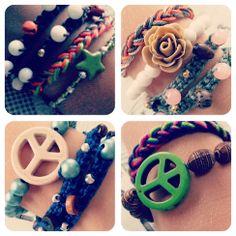 Ibiza look wikkel armband groen G140 | Ibiza look armbanden | Idhuna Jewels - Fashion sieraden