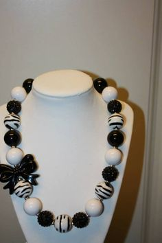 """20"""" Bubble Gum Bead Necklace with Bow- Zebra Print, Black and White"""