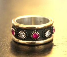 Turkish 925 sterling silver ring band : ruby jade , clear topaz gemstones #Band