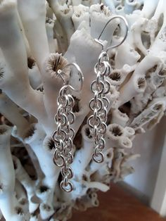 Sterling Silver 925 Earhook in Anchor chain 925 Silver, Silver Rings, Sterling Silver, Chain Messages, Anchor Chain, Chainmaille, Bronze, Earrings, Shop