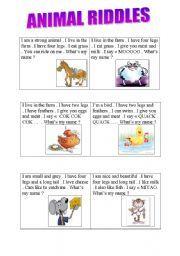 English worksheet: ANIMAL RIDDLES