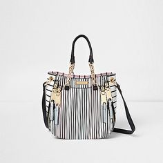 White stripe print cross body mini tote bag - shopper / tote bags - bags / purses - women
