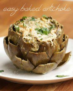 Easy Baked Artichoke Artichoke Lemon Olive oil Salt Pepper Minced garlic Parsley Parmesan
