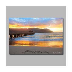 Sunset Kauai beach photo canvas wrap. Large beach by NakedEyes