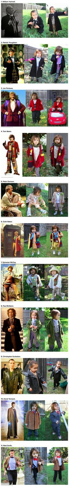 This geeky little girl decided to dress up as 11 of the doctors from Dr. Who. -- Cutest thing ever.