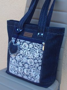 Beautiful denim jeans tote with lace #handmadebag