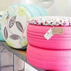 Repurpose an old set of tires for seating in your deck! Or anywhere! You only…