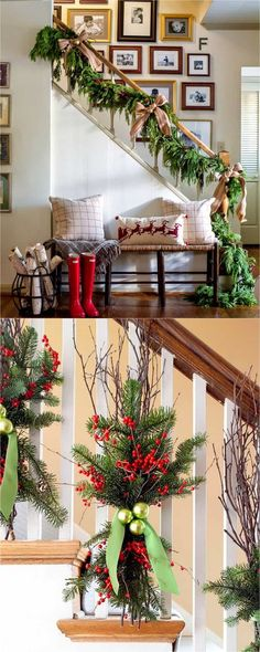 Christmas staircase: Favorite Christmas decorating ideas & DIY Christmas decorations for every room, from the best Christmas home tours! Lots of great tips to apply to your own home easily! A Piece of Rainbow Christmas Staircase Decor, Diy Christmas Decorations For Home, Christmas Mantels, Christmas Centerpieces, Classy Christmas, Christmas Room, Rustic Christmas, Christmas Cookies, Stairway Decorating
