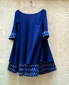 Blue Mulmul and Ikat Swing Dress - Mogra Designs Stylish Dresses For Girls, Stylish Dress Designs, Designs For Dresses, Pakistani Dresses Casual, Pakistani Dress Design, Casual Dresses, Simple Kurti Designs, Kurta Designs Women, Short Kurti Designs