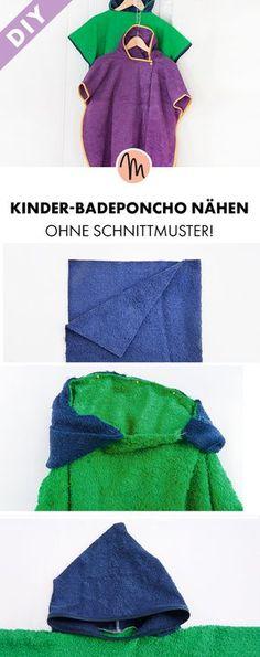 Badeponcho für Kinder nähen - kostenlose Näh-Anleitung via Makerist.de