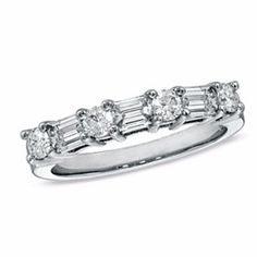 1.00 Ct Baguette Cut And Round D/VVS1 Diamond Wedding Band Ring 14K White Gold by JewelryHub on Opensky