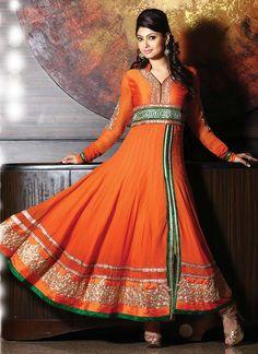 Opulent Orange Georgette Anarkali Suit