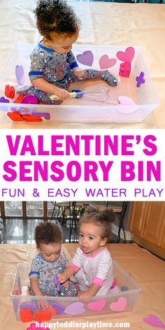 Need a quick Valentine's Day activity for your baby or toddler? Try out this simple to set up water play with a Valentine's Day theme! It is a fun way to introduce colors and shapes or just play with water! Sensory Tubs, Sensory Boxes, Baby Sensory, Sensory Activities, Infant Activities, Sensory Play, Learning Activities, Activities For Kids, Steam Activities