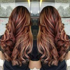 Trendy Hair Highlights : Brown Hair with Blonde and Red Highlights . Red Hair light brown hair with red highlights Dark Brown Hair With Blonde Highlights, Light Brown Hair, Light Hair, Brown Curls, Red Curls, Curls Hair, Dark Red Hair With Brown, Brown With Blonde Highlights, Reddish Brown Hair