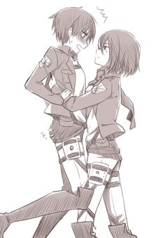 Eren and Mikasa! Attack on Titan fan drawing Attack On Titan Funny, Attack On Titan Ships, Attack On Titan Anime, Mikasa X Eren, Armin, Fan Drawing, Rivamika, Eremika, Anime Ships