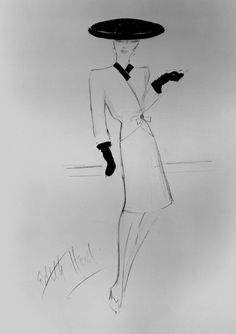 Edith Head's sketch for The Lady Eve (via Criterion)