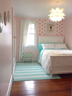 Aqua and Gold Bedroom Beautiful Pink Mint Gold Polka Dot Girl S Bedroom Ruffle forter Aqua Bedrooms, Pink Bedroom Decor, New Bedroom Design, Gold Bedroom, Bedroom Green, White Bedroom, Bedroom Colors, Bedroom Wall, Kids Bedroom