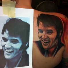 Elvis Smiling Portrait Tattoo - Instagram photo by @joshreynoldstattoo