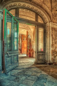 Gorgeous doorway of an abandoned palace in Poland.