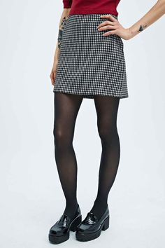 Cooperative Houndstooth Pencil Skirt in Mono