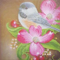 Bird in Flowers - Stretched Canvas
