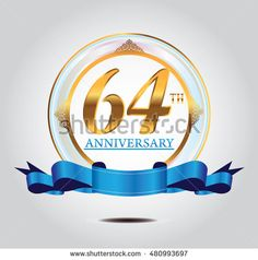 64th anniversary golden logo with blue ribbon and golden ornament