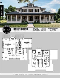 geschichte haus im südlichen stil plan greensboro southernliving plantation southern Story Southern Style House Plan Greensboro Southernliving Plantation Southern ; House Plans 2 Story, Porch House Plans, 4 Bedroom House Plans, 2 Story Houses, Craftsman House Plans, Dream House Plans, Modern House Plans, Dream Houses, Cool House Plans