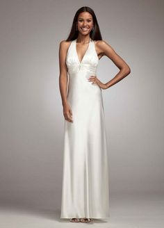 David's Bridal Charmeuse Gown with Halter Neckline Style 36857D | fashionclothingstyle