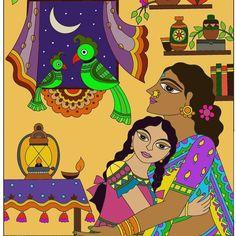 Madhubani Art, Madhubani Painting, Indian Wall Decor, Parrot Painting, Family Wall Decor, Bright Walls, Art Diary, Indian Folk Art, Cockatoo