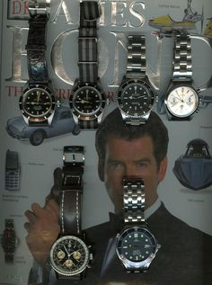 Here is a picture of my Bond watch collection. Pictured from left to right is a 4 line Rolex Submariner 6538 and 2 line Rolex Submariner 5510 from the Connery Montre James Bond, James Bond Watch, James Bond Movies, Estilo James Bond, James Bond Style, Luxury Watches, Rolex Watches, Diamond Watches, James Bond Outfits
