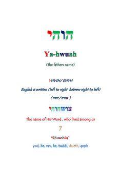 Yâ hwuah's Creation by Keiyah ben Yâ-hwuah via slideshare