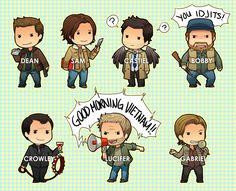 Dean, Sam, Castiel and Bobby  CHIBIS: Supernatural by shiftly.deviantart.com on @deviantART