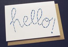 Blue Embroidered Hello Card by Blue Eye Brown Eye modern accessories and decor