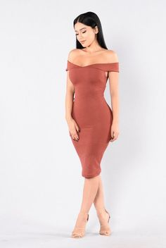 - Available in Light Olive and Marsala - Off the Shoulder - Midi Length - Body Con - 95 %Polyester, 5% Spandex