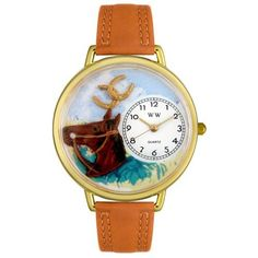 Whimsical Watches Unisex G0110005 Horse Head Brown Leather Watch Whimsical Watches. $40.99. Brown Italian leather strap. Quality Japanese-quartz movement. White, Horse-Head-theme dial. Secure buckle-clasp. Plastic crystal covering themed-dial