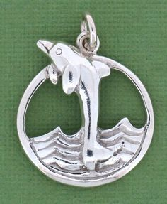 Sterling silver dolphin wave pendant charm $24.99