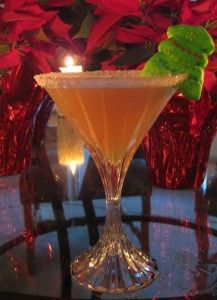Christmas Tree Tini, 1 oz.coconut Rum, 1 oz. Peach Schnapps, 1 splash Rum, cranberry & pineapple juice. Rim Glass with Sugar and Garnish with a Christmas Tree Marshmallow Peep