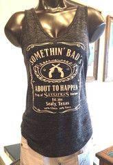 Somethin' Bad Tee  Something Bad's About to Happen racer - back tee with clear rhinestone accents.  Black Marbled Tank. Miranda Lambert inspired. Made in Texas.  Shop online at www.sassafras-boutique.com.