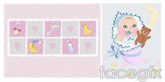 Vector cartoon infant and baby products