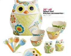 Pier One for Kaitlin 20% off Select Owl Kitchen Accessories- need the spoon rest and measuring