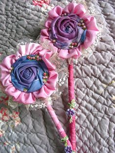 fairy wand made with ribbon Visit & Like our Facebook page! https://www.facebook.com/pages/Rustic-Farmhouse-Decor/636679889706127