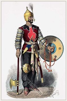 Middle ages Persian warrior costume. [Franz Lipperheide, 1876-1887]
