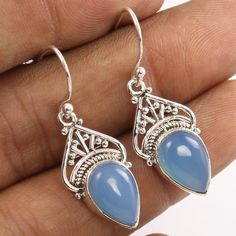 925 Sterling Silver Natural BLUE CHALCEDONY Pear Gemstone Vintage Style Earrings #Unbranded #DropDangle