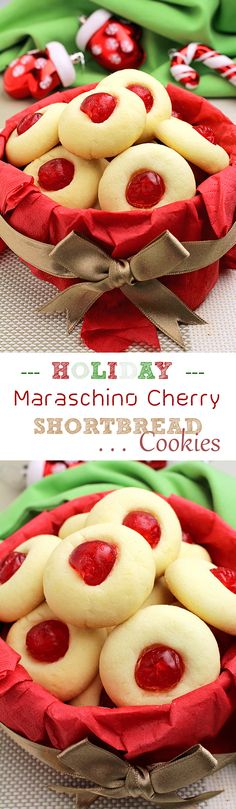 Dec 3 2016 - Holiday Maraschino Cherry Shortbread Cookies Christmas New Year Santa Claus Christmas Tree Cookies everything is about holidays :-) Galletas Cookies, Shortbread Cookies, Holiday Cookies, Holiday Treats, Holiday Recipes, Christmas Cookie Exchange, Christmas Sweets, Christmas Cooking, Christmas Tree